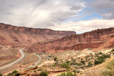 View of entrance to Arches NP from above